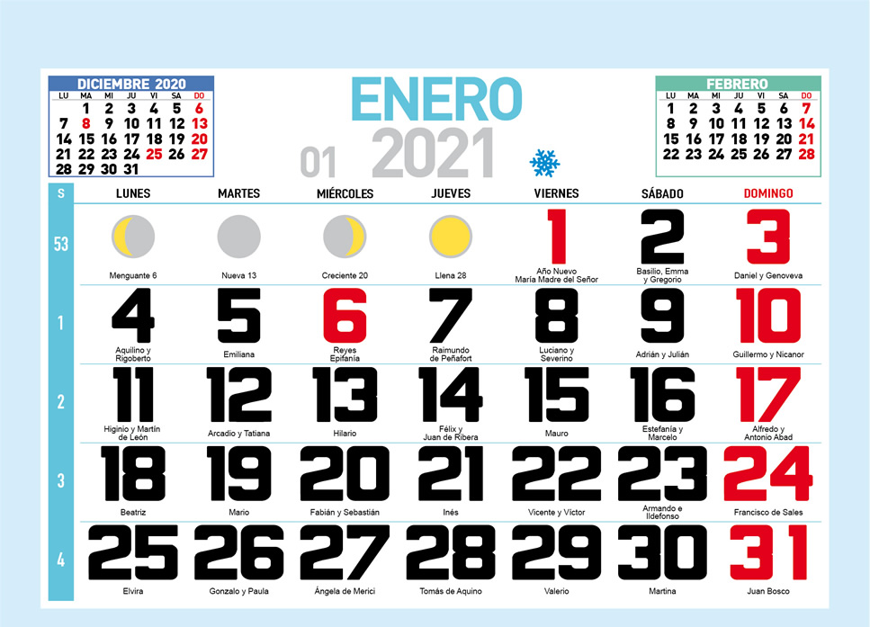 Faldilla mensual para calendario de pared