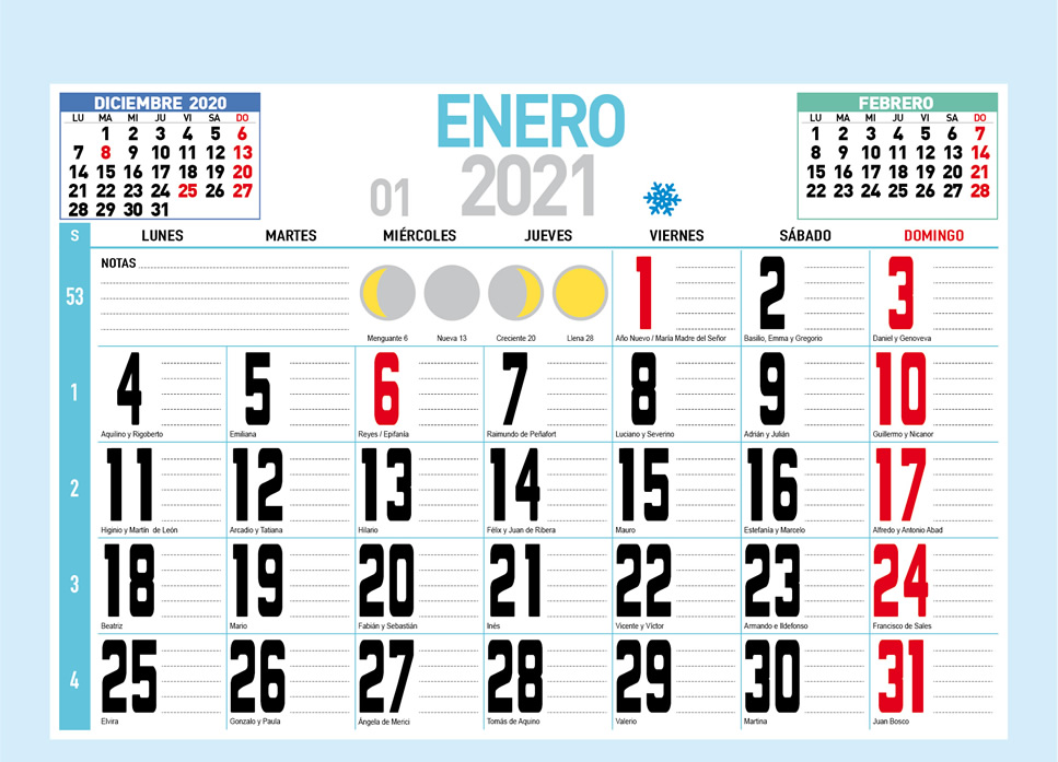Faldilla mensual con notas para calendario de pared