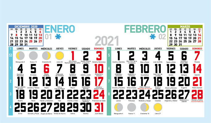 Faldilla bimensual para calendario de pared