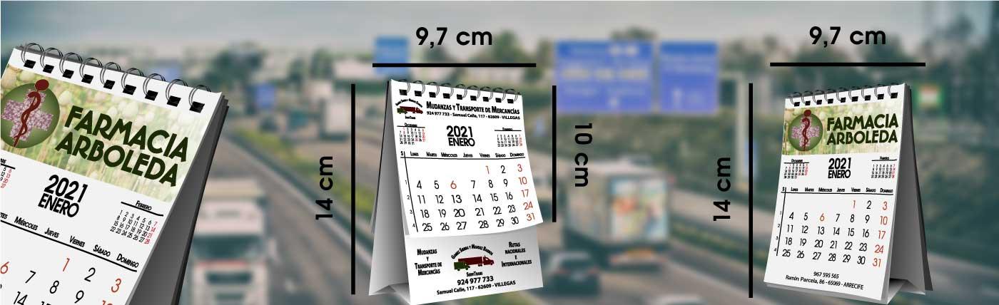 Calendario personalizado de sobremesa tamaño mini, con hojas, espiral wire-o y basa imprimible, medidas anxal 9,7x14 cm.