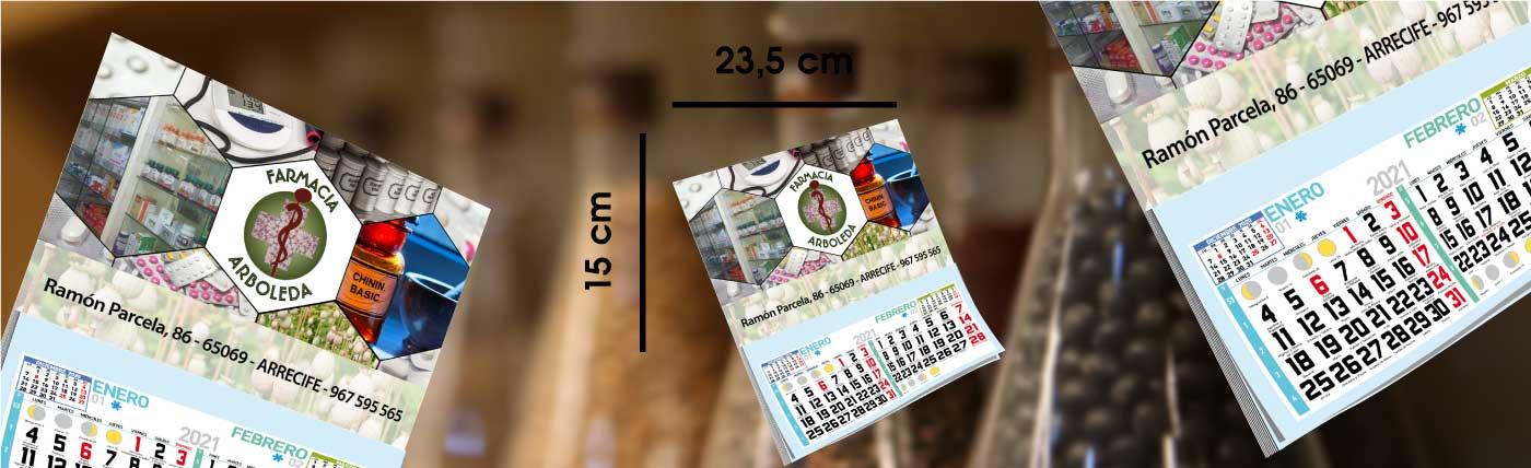 Calendario personalizado de nevera con iman y faldilla anxal 23,5x15 cm.