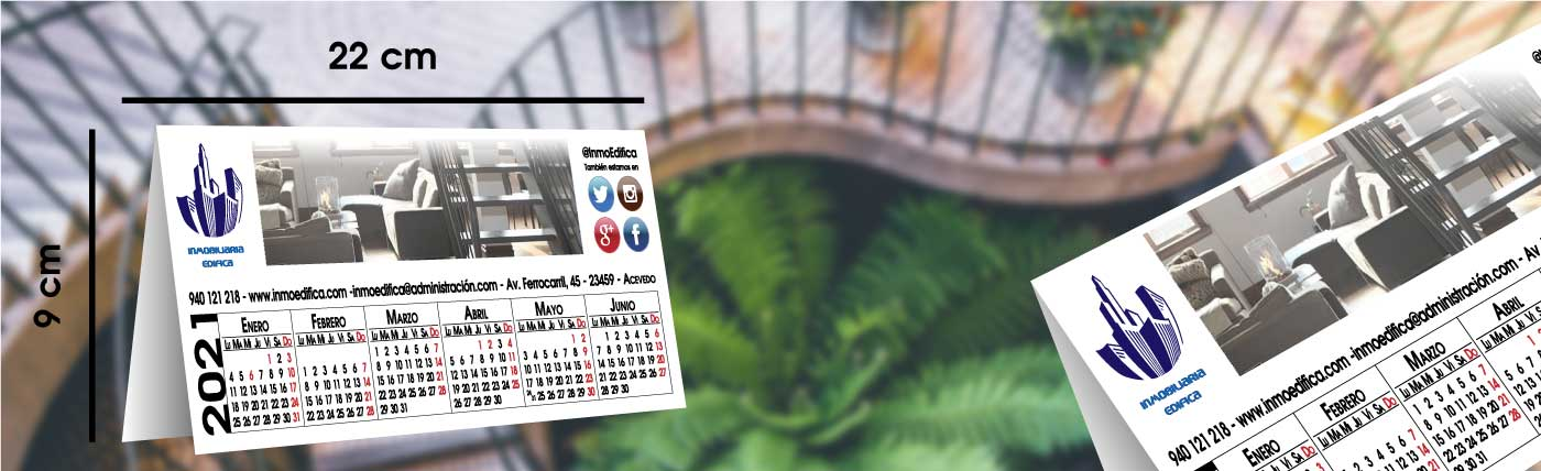 calendario personalizado de pvc irrompible anxal 22x9 cm