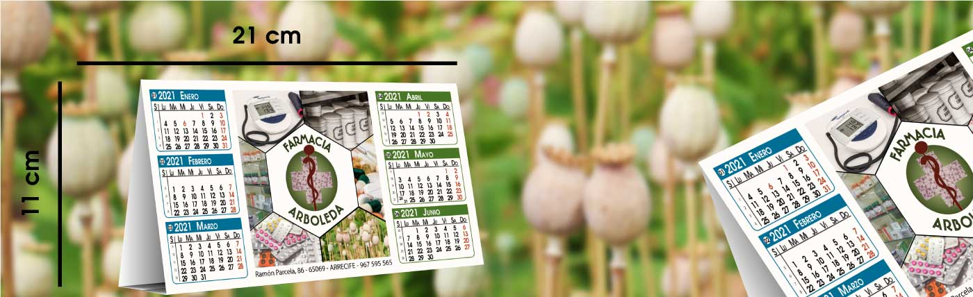 calendario personalizado de sobremesa plastificado anxal 21x11cm