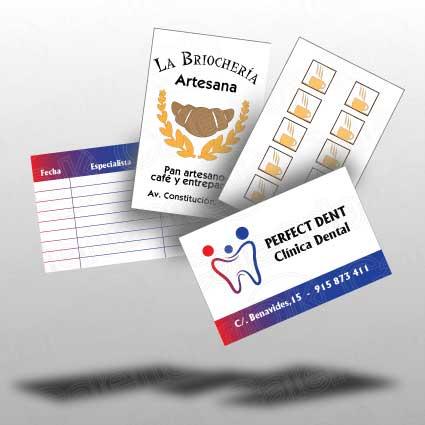 Tarjetas de control en cartoncillo impresas a todo color por ambas caras en horizontal o vertical anxal 8,5x5,5 cm