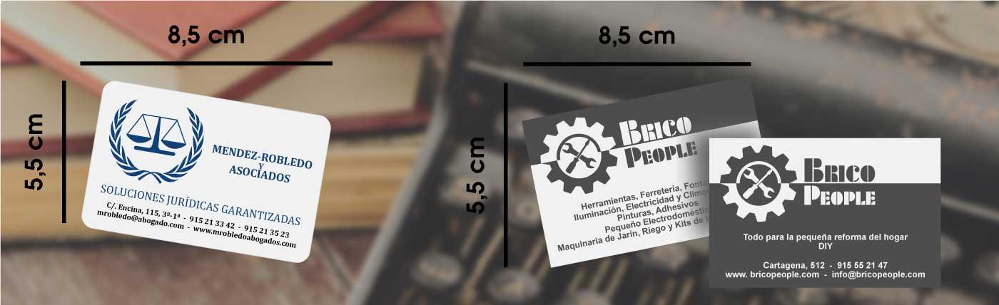 Tarjetas de visita en cartoncillo con cantos romos o rectos anxal 8,5x5,5 cm