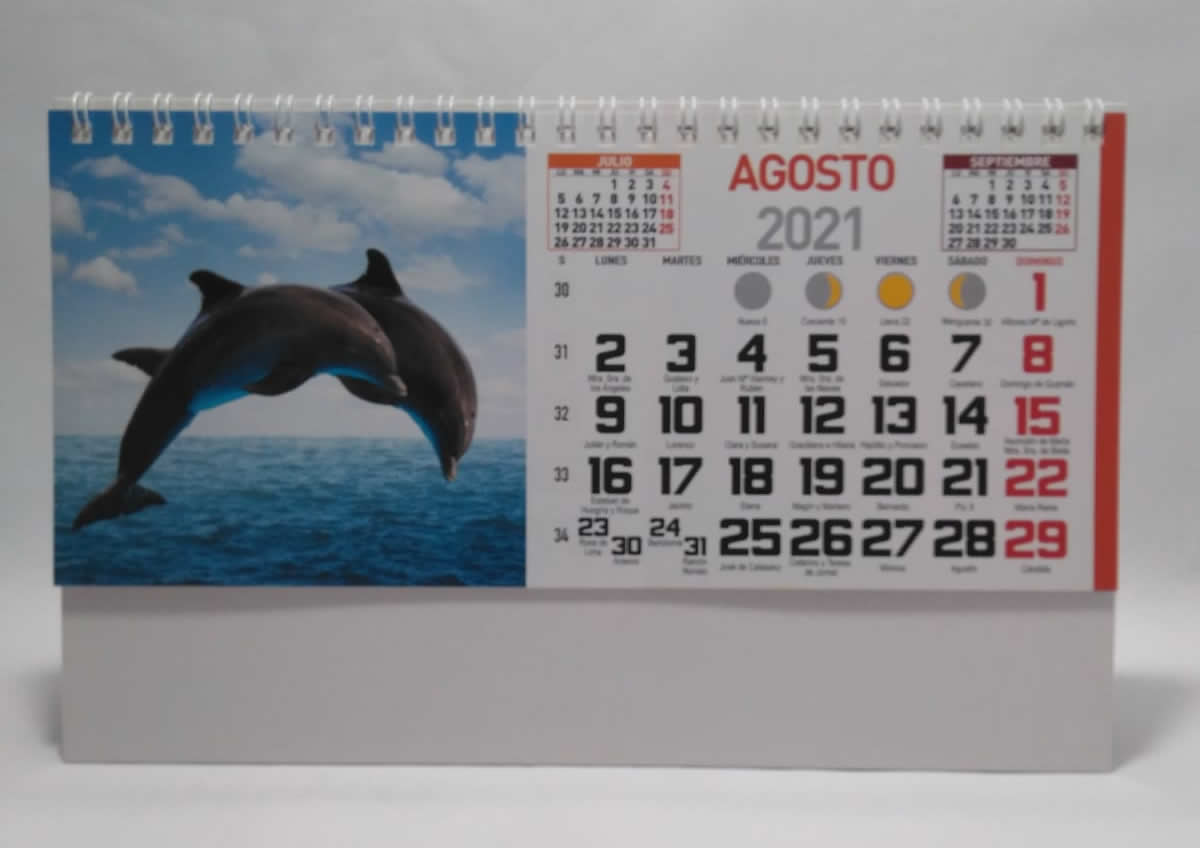 Calendario de sobremesa con espiral fotos animales