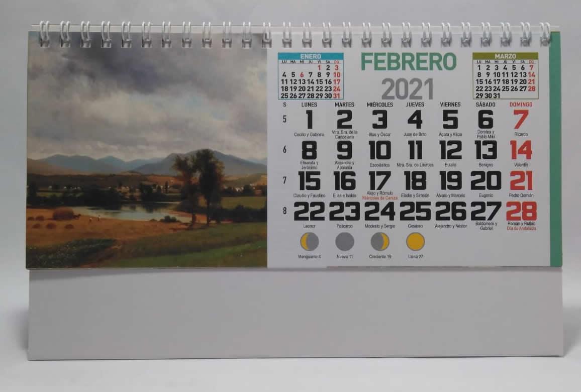 calendario de sobremesa espiral fotos pinturas
