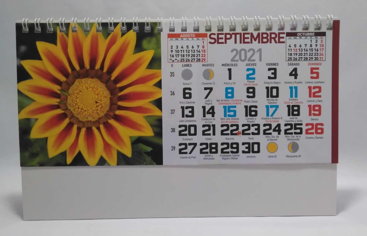calendario de sobremesa espiral fotos flores