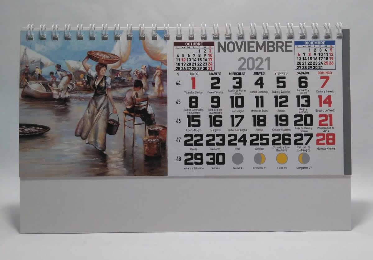 Calendario de sobremesa con espiral fotos de arte
