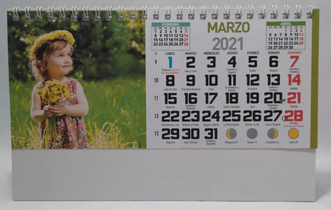 Calendario de sobremesa con espiral fotos de niños