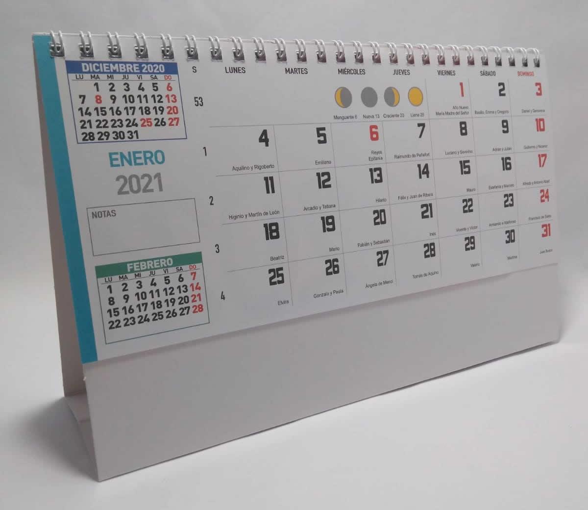 Calendario de sobremesa con espiral neutro para notas 7 hojas