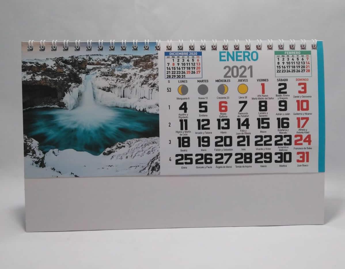 Calendario de sobremesa con espiral fotos paisajes internacionales