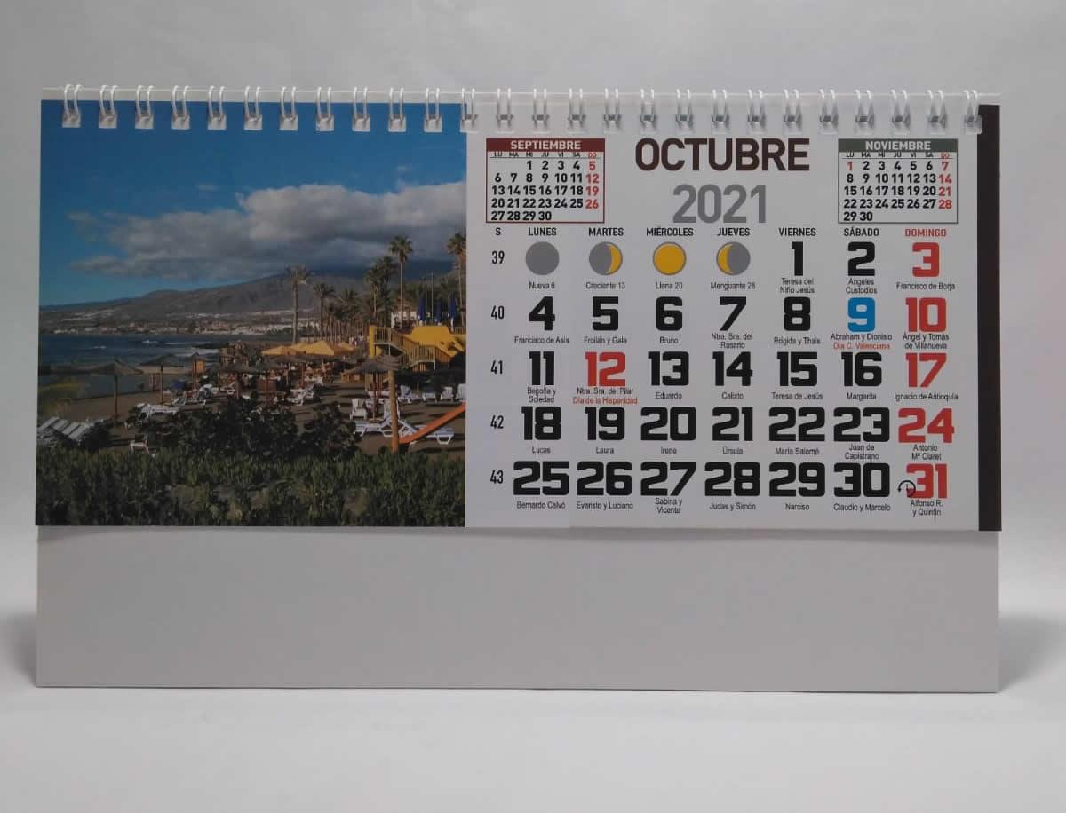 Calendario de sobremesa con espiral fotos islas