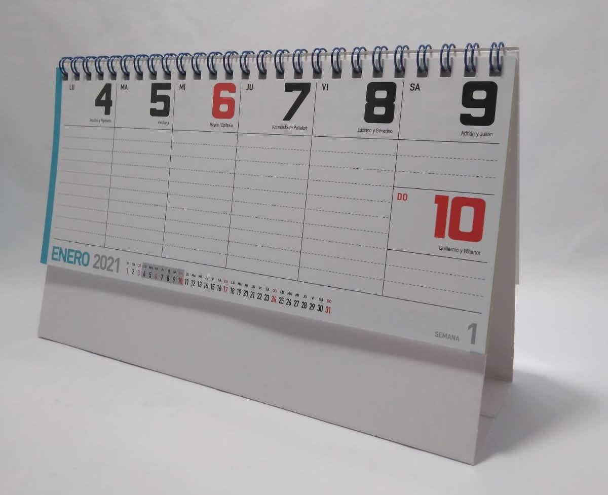 calendario semanal 27 hojas