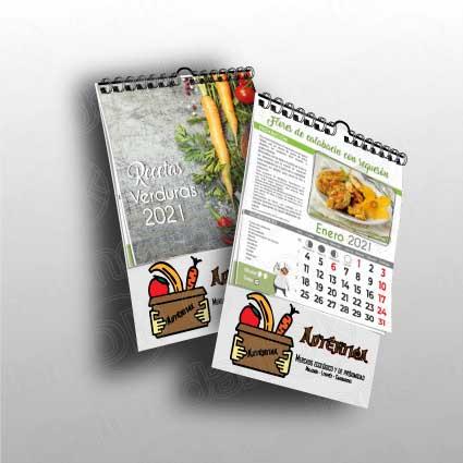 Calendario de serie de pared tipo recetas de cocina, anxal 19x32 cm