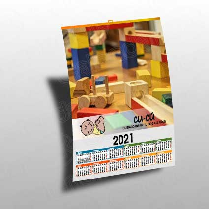 Calendario personalizado de pared tipo poster anxal 30x43 cm.