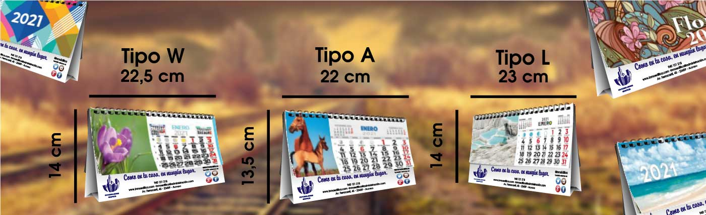 Calendarios de sobremesa de 7 hojas, con láminas de serie, en diferentes medidas