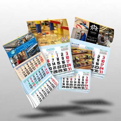 Calendarios personalizados de pared, papel de 350g plastificado, diferentes medidad anxal 33x30 cm 43,5x21 cm y 43,5x30 cm