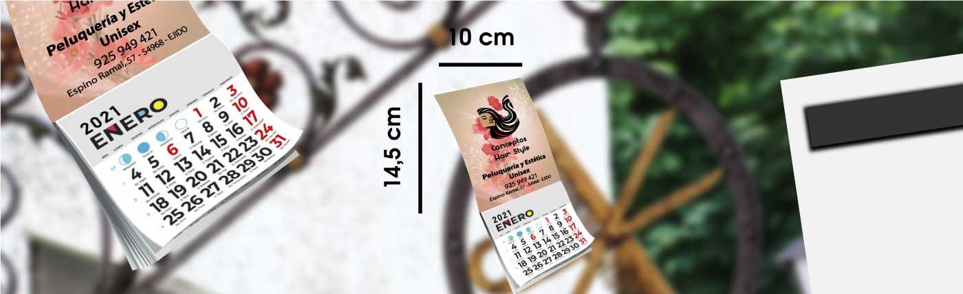Calendario personalizado de nevera con imán y faldilla anxal 10x14,5 cm.