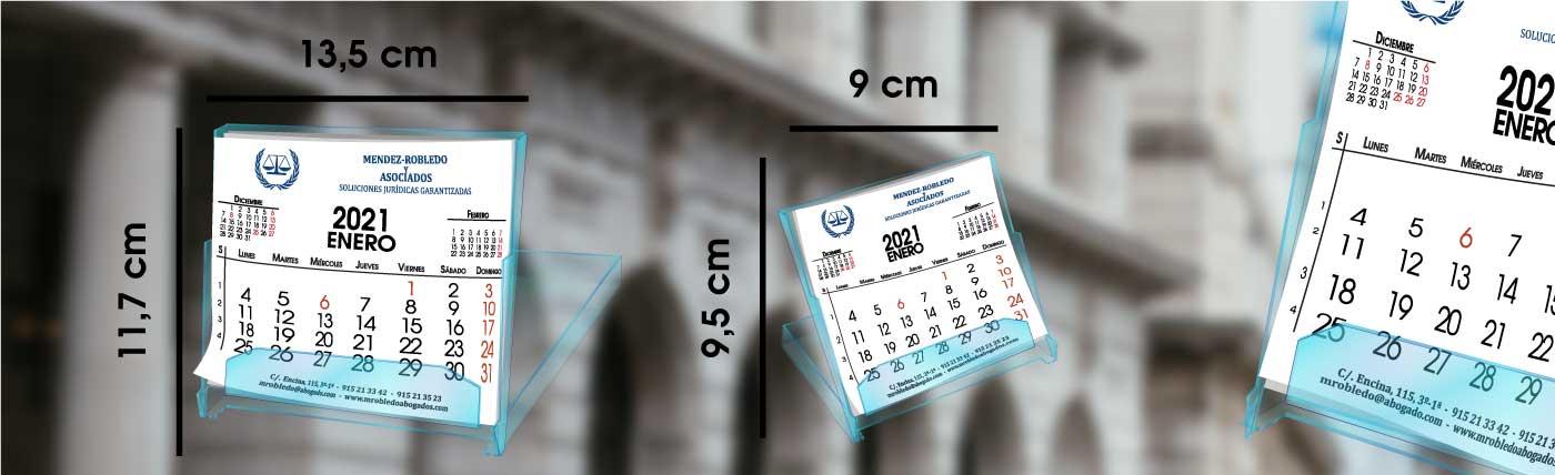 Calendario personalizado de sobremesa tipo cd, dos medidas