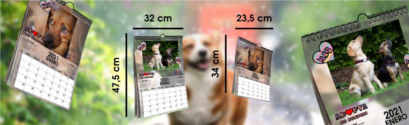 Calendario personalizado a todo color, tipo solidario de 13 hojas: portada +12 meses, dos medidas anxal 32x47,5 cm y 23,5x32 cm.